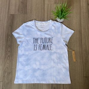 Rae Dunn The Future Is Female Tee Tie Dye Blue M